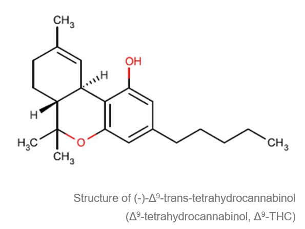 estrutura da molecula de cannabis (-) - Δ9-trans-tetra-hidro-canabinol